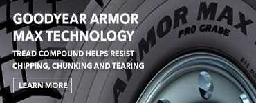 Goodyear Armor Max Technology. Tread compound helps resists chipping, chunking and tearing